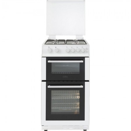 Belling FS50GTCL 50cm Gas Twin Cavity Cooker with Gas Hob and Glass Lid 3 Yr Warranty