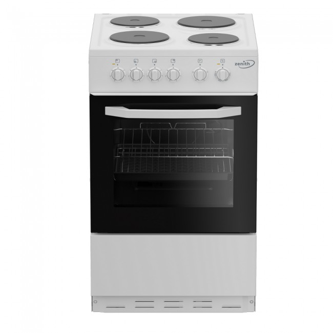 Zenith ZE503W 50cm Electric Single Oven with solid plate - hob White