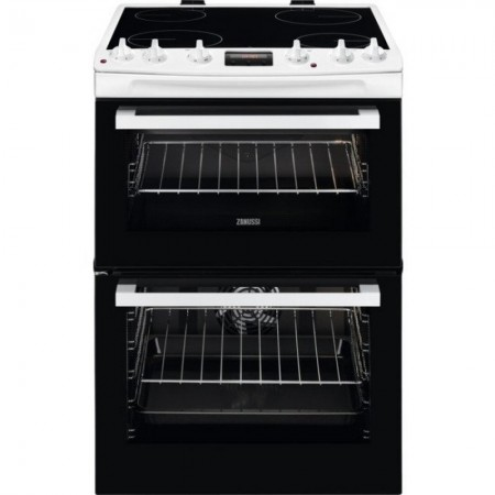 Zanussi ZCV66370WA 60cm Electric Double Oven with Ceramic Hob - White  2 Year Warranty
