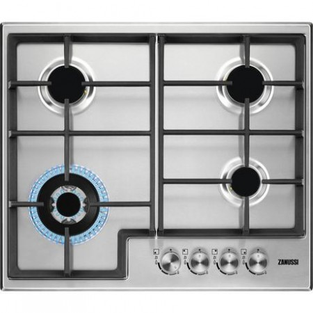 Zanussi ZGH66424XX Gas Hob with Cast Iron pan supports - Stainless Steel- 2Yr Warranty